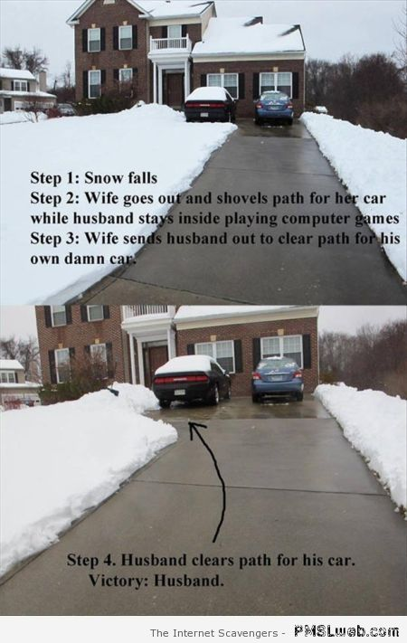 Wife shovels path for her car – Monday Lmao at PMSLweb.com