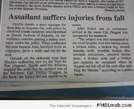 Funny injuries by fall at PMSLweb.com