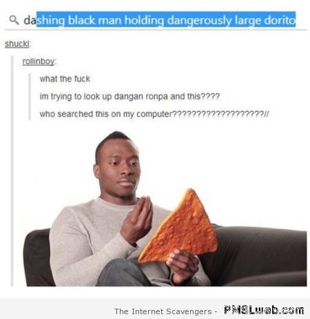 Dashing black man holding dangerously large dorito at PMSLweb.com