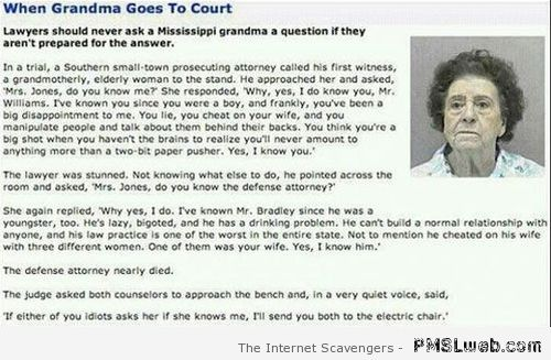 When grandma goes to court – Funny Hump day pictures at PMSLweb.com