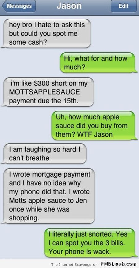 Mortgage payment fail funny autocorrect at PMSLweb.com