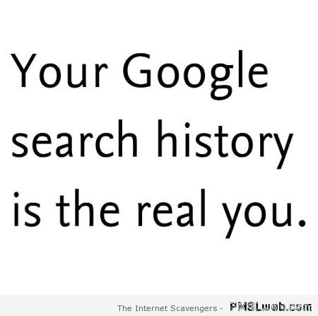 Your google search history is the real you at PMSLweb.com