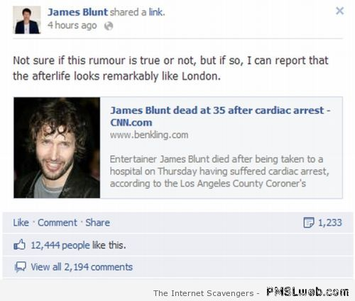 James Blunt death Facebook fail at PMSLweb.com