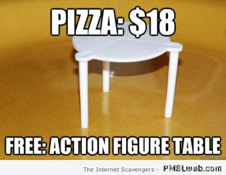 Pizza free action figure table meme at PMSLweb.com