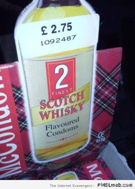 Scotch whisky flavored condoms at PMSLweb.com