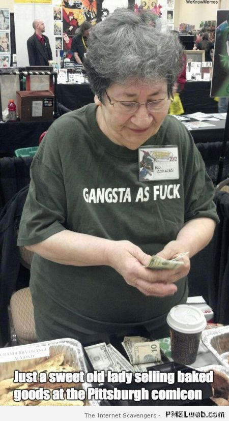 Old lady with gangsta t-shirt at PMSLweb.com