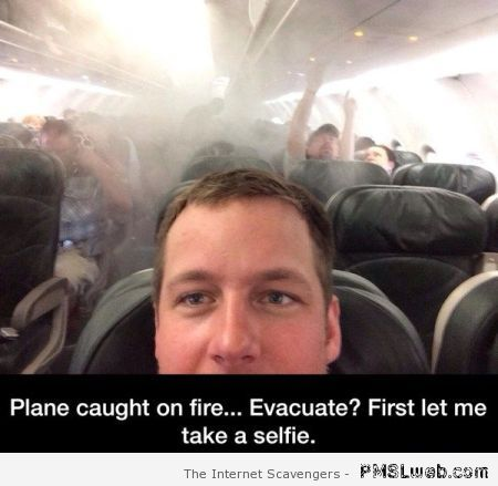 Plane caught on fire selfie at PMSLweb.com