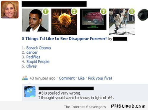 Things I'd like to see disappear forever Facebook funny at PMSLweb.com