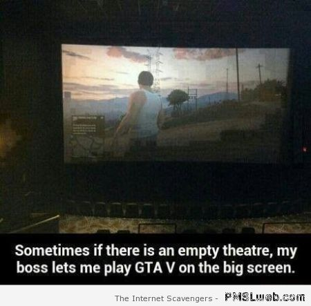 Playing GTA on a movie screen at PMSLweb.com