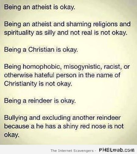 Being an atheist is okay funny quote at PMSLweb.com