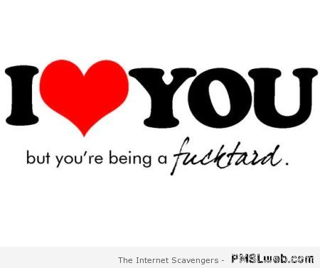 I love you but you're being a f*cktard at PMSLweb.com