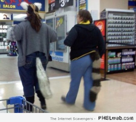 Wearing tails in Walmart at PMSLweb.com