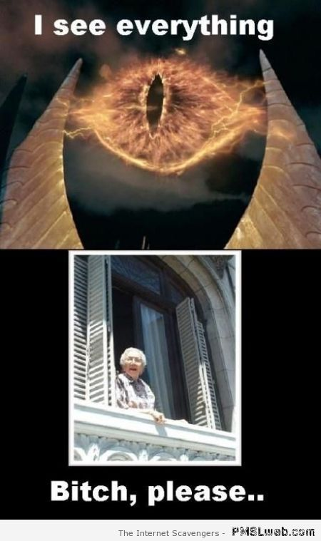 Nosy old lady versus eye of Sauron at PMSLweb.com
