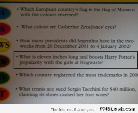 Funny Harry Potter trivial Pursuit question at PMSLweb.com