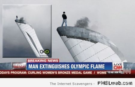 Man extinguishes Olympic flame at PMSLweb.com