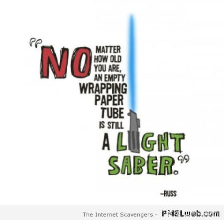 Empty paper wrapping tube is a light saber at PMSLweb.com