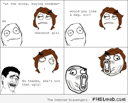 At the store buying condoms rage comic at PMSLweb.com