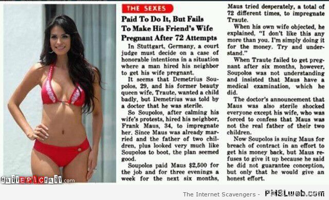 Paid to get his friend's wife pregnant at PMSLweb.com