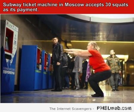 Pay the subway with squats at PMSLweb.com
