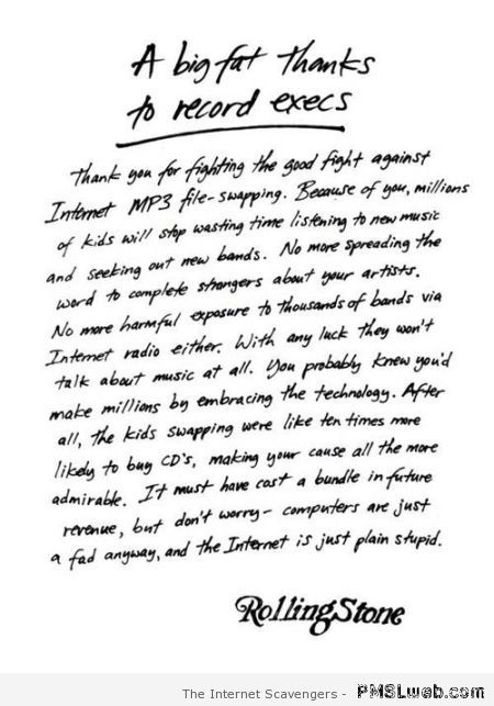 Rollingstone letter to execs at PMSLweb.com
