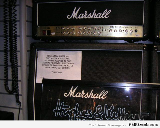 Funny message in guitar store at PMSLweb.com