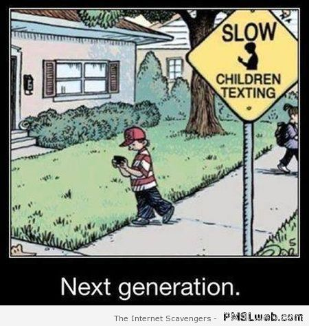 Slow down children texting – Funny cartoons at PMSLweb.com