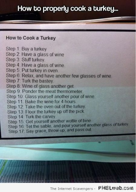 How to properly cook a turkey humor at PMSLweb.com