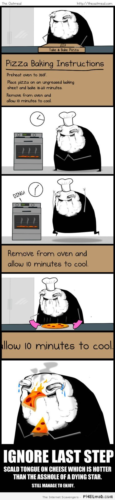 Pizza baking instructions humor at PMSLweb.com