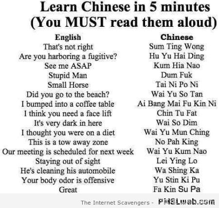 Learn Chinese in 5 minutes at PMSLweb.com