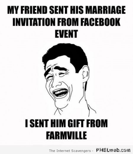 Marriage invitation from Facebook event at PMSLweb.com