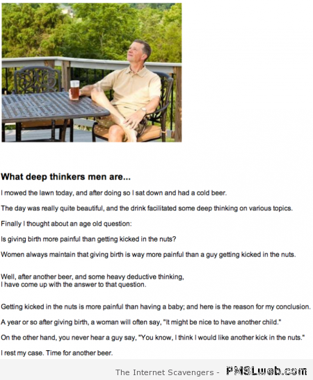 What deep thinkers men are joke at PMSLweb.com
