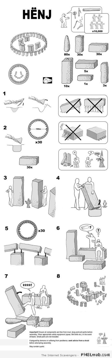 Funny IKEA instructions for building Stonehenge at PMSLweb.com