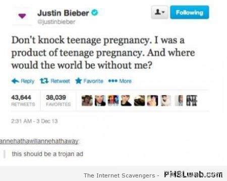 Bieber twitter pregnancy comment at PMSLweb.com