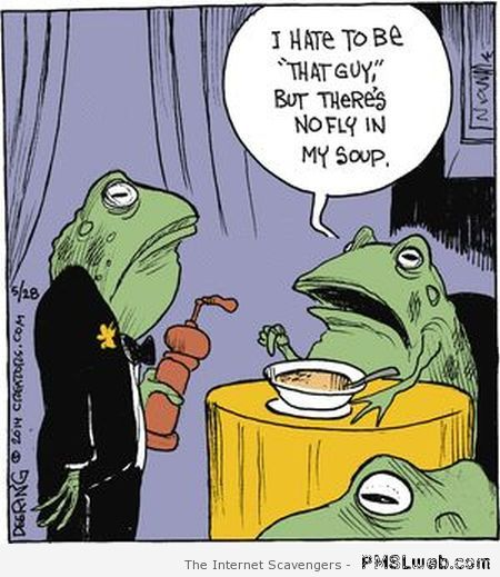 Frog no fly in my soup cartoon at PMSLweb.com