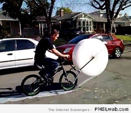 Bubble wrap biking – TGIF crazy pictures at PMSLweb.com