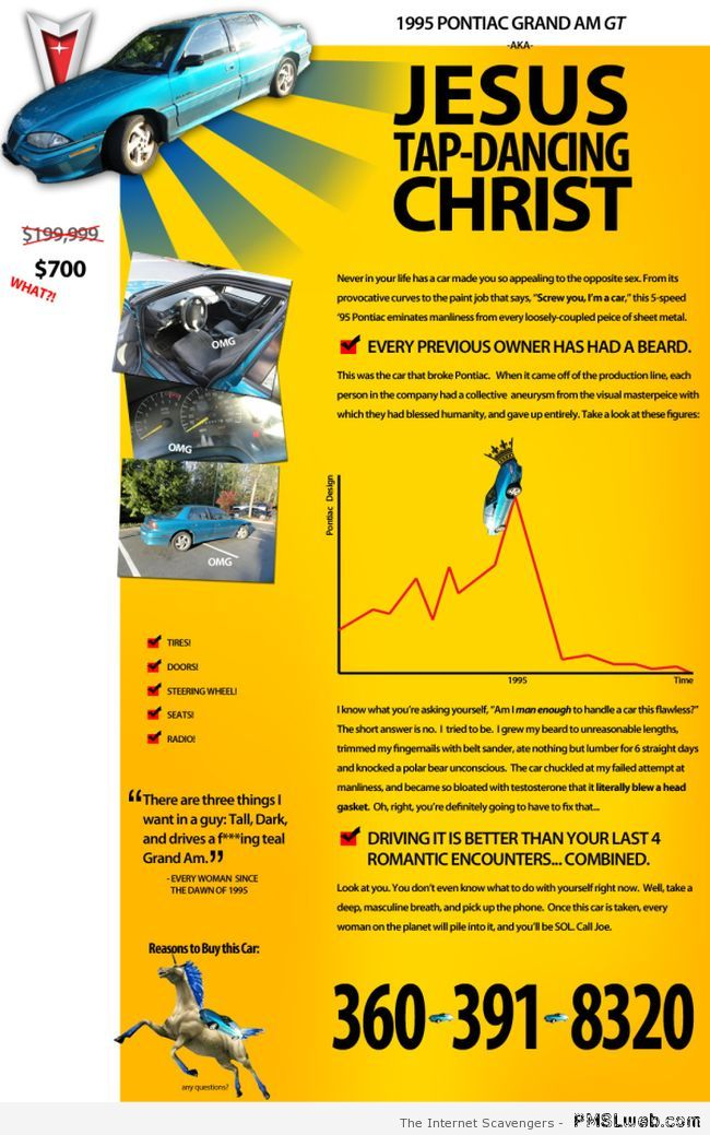 How to sell a Pontiac funny at PMSLweb.com