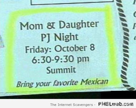 Funny PJ night classified ad at PMSLweb.com