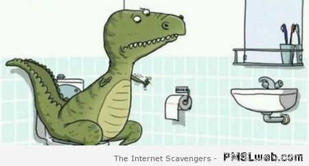 T-Rex toilet problems – Funny Friday at PMSLweb.com