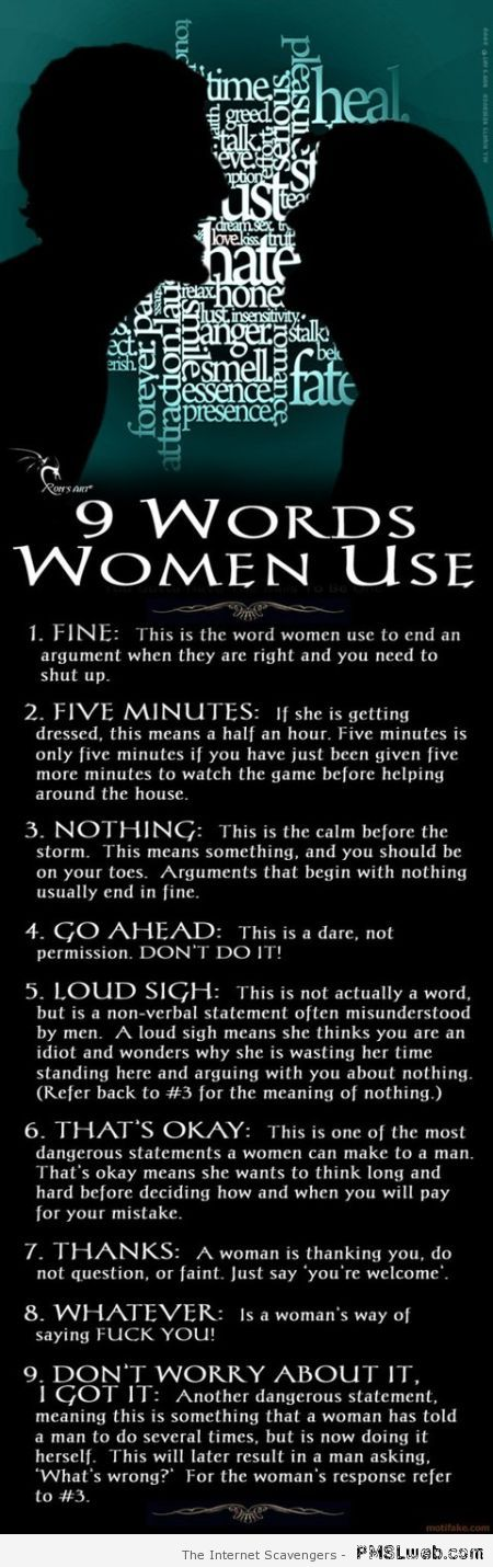 9 words women use at PMSLweb.com