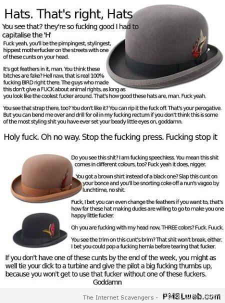 That's right, hats – Sarcastic and crude at PMSLweb.com