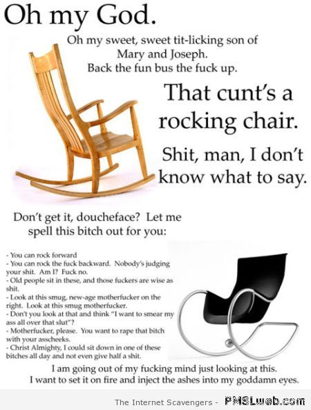 Crude rocking chair funny at PMSLweb.com