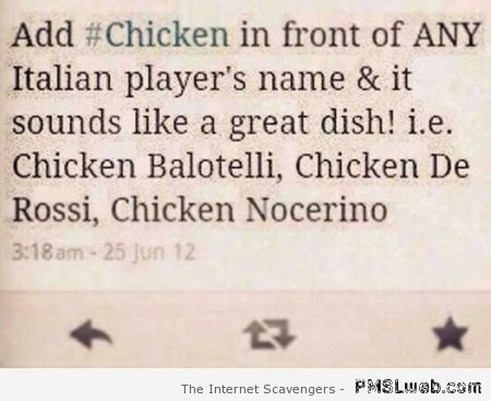 Adding chicken to Italian football player names at PMSLweb.com