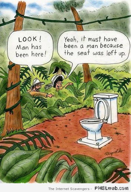 Leaving the toilet seat up cartoon at PMSLweb.com