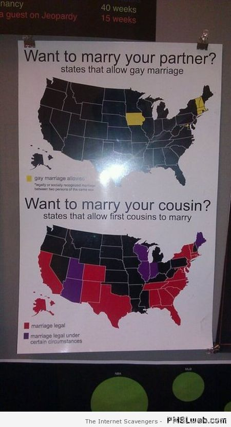 States allowing gay marriage vs states allowing cousin marriage at PMSLweb.com