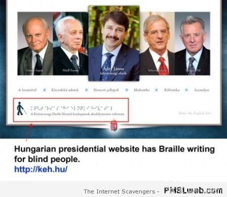 Hungarian presidential website in Braille at PMSLweb.com