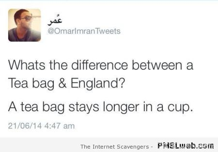Difference between England and a tea bag joke at PMSLweb.com
