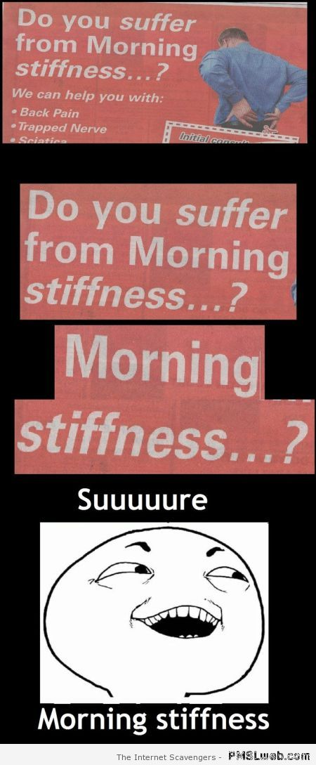 Do you suffer from morning stiffness at PMSLweb.com