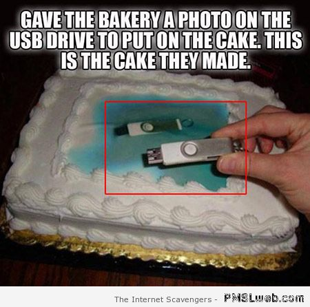 USB drive photo on cake – Funny computer world at PMSLweb.com