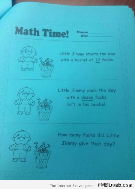 Funny rude math time – Explicit language humor at PMSLweb.com