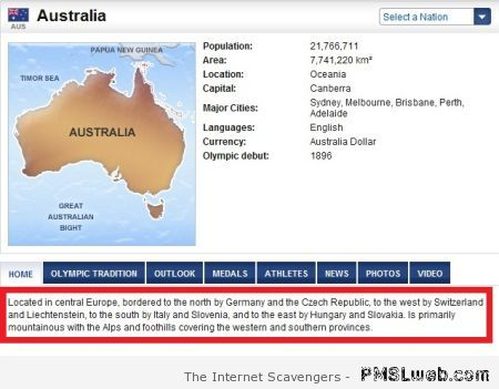 Australia location fail at PMSLweb.com